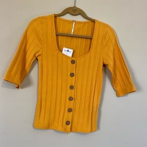 Adorable Free people mustard yellow top NWT